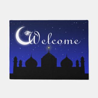 Silhueta da mesquita na esteira de porta da boa tapete