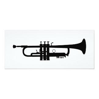 silhueta da trombeta convite 10.16 x 23.49cm