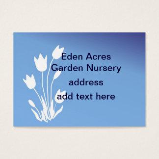 Silhueta da tulipa, branca em customizável azul cartão de visitas
