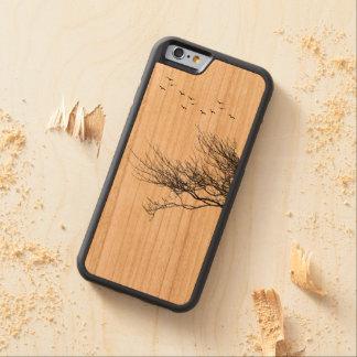 silhueta de madeira da caixa da cereja abundante capa de cereja bumper para iPhone 6
