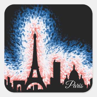 Silhueta de Paris France Adesivo Quadrado