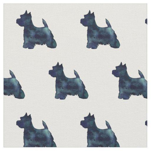 Silhueta de Westie Terrier telhada - preto Tecido
