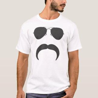 Silhueta do bigode do aviador camiseta