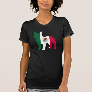 Silhueta do buldogue francês de bandeira mexicana camiseta