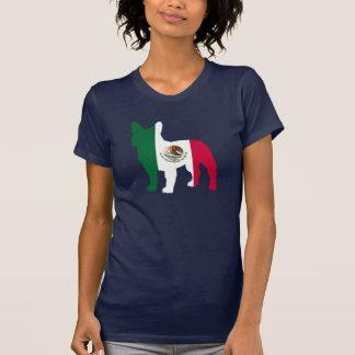 Silhueta do buldogue francês de bandeira mexicana camisetas