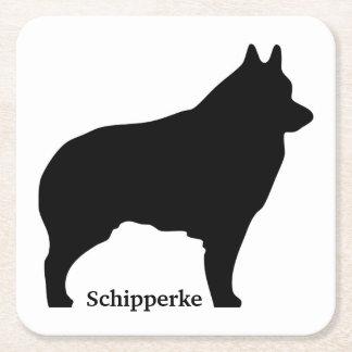 Silhueta do cão do Schipperke Porta-copo De Papel Quadrado