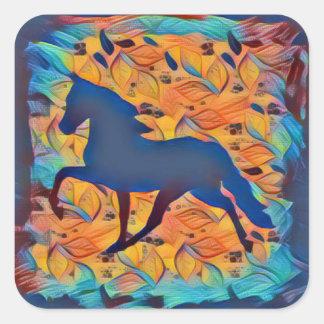 Silhueta do cavalo adesivo quadrado