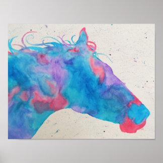 Silhueta do cavalo da aguarela pôster