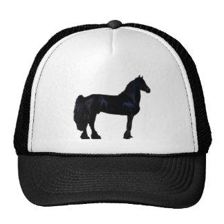 Silhueta do cavalo em preto e branco boné