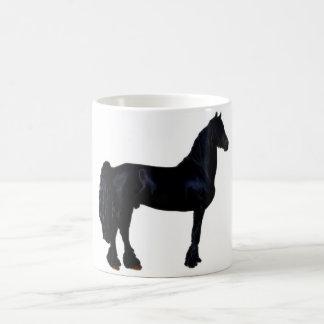 Silhueta do cavalo em preto e branco caneca