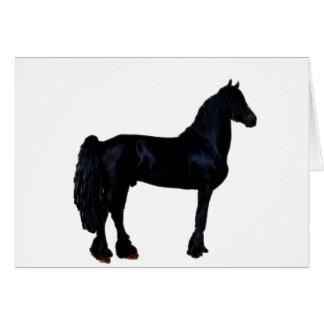 Silhueta do cavalo em preto e branco cartões