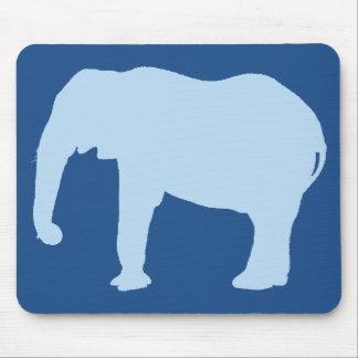 Silhueta do elefante dos azuis bebés mouse pad