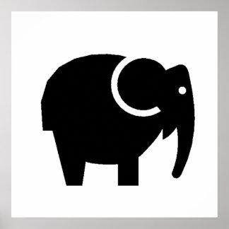 Silhueta do elefante dos desenhos animados impressão