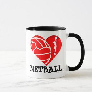 Silhueta do jogador do coração eu amo o Netball Caneca