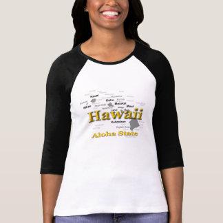 Silhueta do mapa do orgulho do estado de Havaí T-shirt