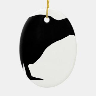 Silhueta do quivi ornamento de cerâmica oval