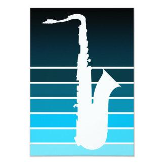 silhueta do saxofone: o azul desvanece-se convite 8.89 x 12.7cm