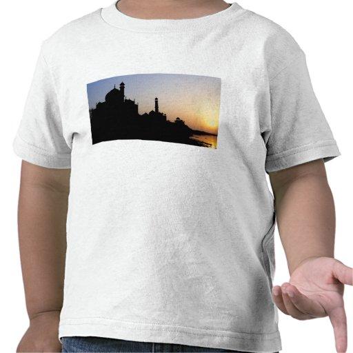 Silhueta do Taj Mahal no por do sol, Agra, T-shirts