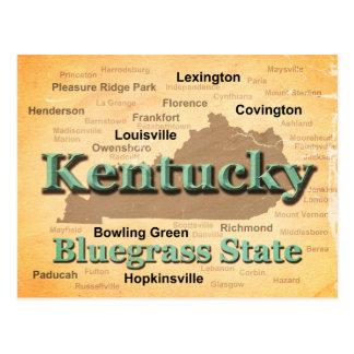 Silhueta envelhecida do mapa do orgulho do estado cartão postal