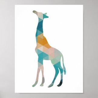 Silhueta geométrica colorida do girafa pôster
