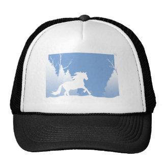 Silhueta nevado do cavalo do inverno bone