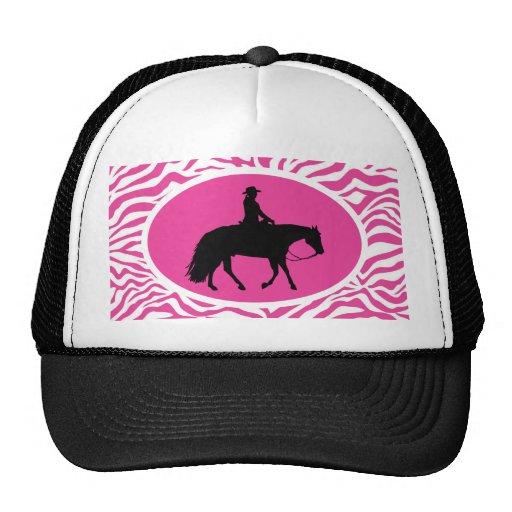 Silhueta ocidental preta de galope do cavalo do boné