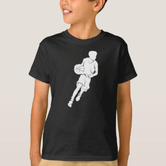 Silhueta pingando do menino do basquetebol camiseta