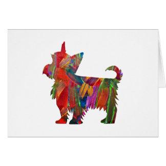 Silhueta pintada colorida do cão de Yorkie multi Cartão