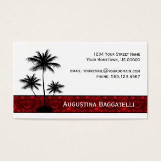 Silhueta preta das palmeiras com cartão de visita