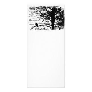 Silhueta preta & do branco nunca mais do corvo 10.16 x 22.86cm panfleto