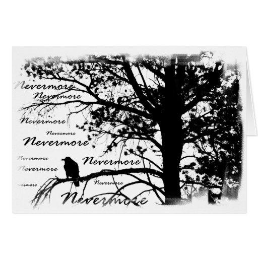 Silhueta preta & do branco nunca mais do corvo cartões