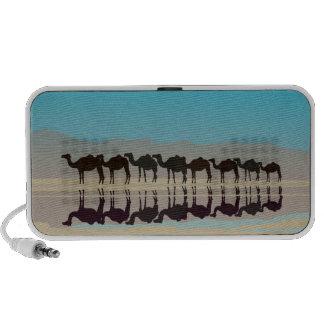 Silhueta preta dos camelos no deserto caixinha de som para laptop
