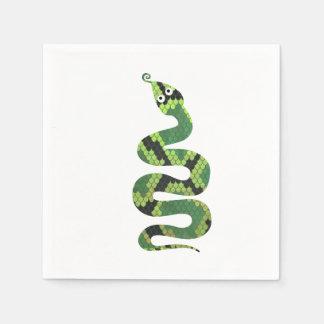Silhueta preta e verde do cobra do impressão guardanapo de papel
