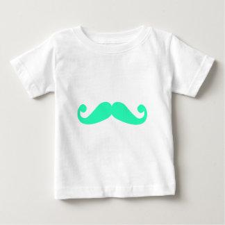 silhueta verde do bigode, design para o tshirt camiseta para bebê