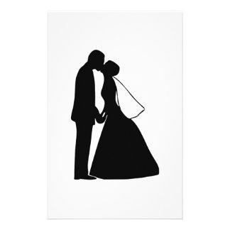 Silhueta Wedding dos noivos do beijo Papelaria