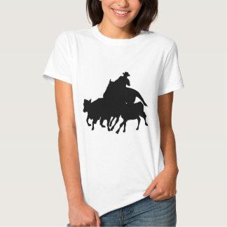 Silhuetas - corrida de cavalos - T-Breds Camisetas