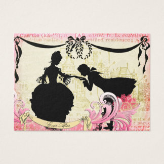 Silhuetas do conto de fadas & casal romântico do cartão de visitas