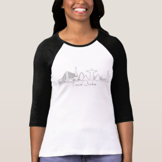 Silhuetas do monumento, toxicómano do viagem, camiseta