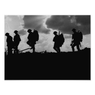 Silhuetas do soldado WW1 - batalha de Broodseinde Pôster