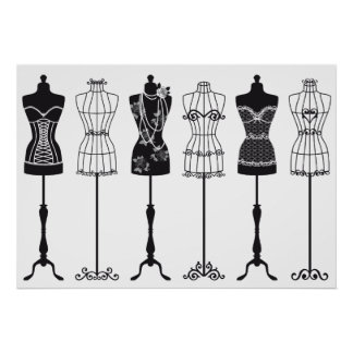 Silhuetas dos manequins da forma do vintage poster