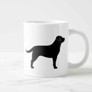 Silhuetas pretas de labrador retriever caneca de café grande