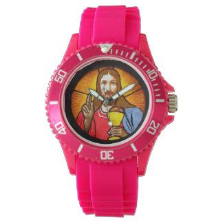 Silicone cor-de-rosa desportivo de Jesus Relógio