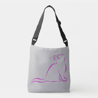 Sillhouette cor-de-rosa do gato bolsa ajustável