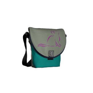 Sillhouette cor-de-rosa do gato bolsas mensageiro