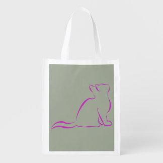 Sillhouette cor-de-rosa do gato sacolas ecológicas para supermercado