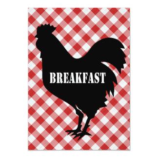 Silo da galinha no pequeno almoço vermelho do convites personalizado