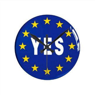Sim à UE - estada na União Europeia Relógio De Parede