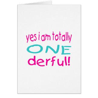 Sim eu sou totalmente um derful (a menina) cartão comemorativo