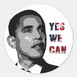 Sim nós podemos - etiqueta política de Obama Adesivo Redondo