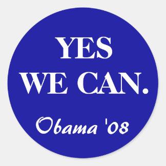 SIM NÓS PODEMOS., Obama '08 Adesivo Em Formato Redondo